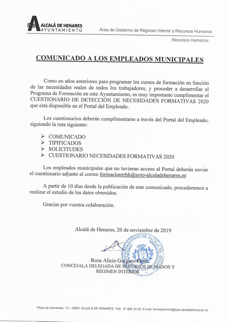 Detección De Necesidades Formativas Ccoo Ayto Alcalá De Henares